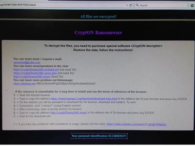 Virus mã hóa dữ liệu đòi tiền chuộc Crypton